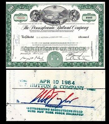 Broker Owned Stock Certificate  Ef Hutton   C0  Payee  Pennsylvania Rr  Issuer