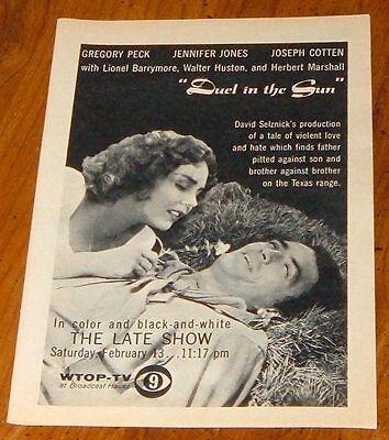 1965 Wtop Tv Movie Ad Duel In The Sun Jennifer Jones Gregory Peck Washington D C