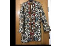 Mango Ladies Quilted Aztec Print Jacket Coat Size S RRP £79.99