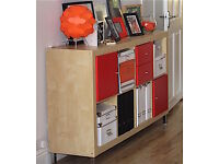 EXPEDIT IKEA NOW KALLAX BOOKCASE RED INSERTS CHROME LEGS GREAT ROOM DIVIDER TOO