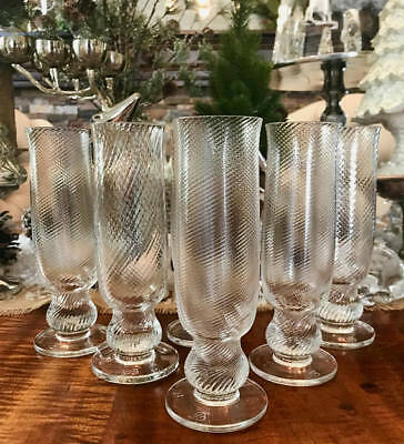 6 Crystal Twist Tall Wine, Champagne Flute, Juice Glass Signed B Round Base