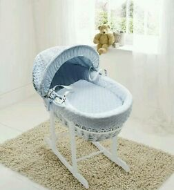 Kinder valley blue Dimple white Wicker moses basket. Brand new 3 left in stock.