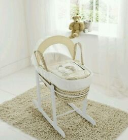 Cream Tiny Teddy in the park moses basket. With Deluxe Rocking stand. Brand new 10 plc left.