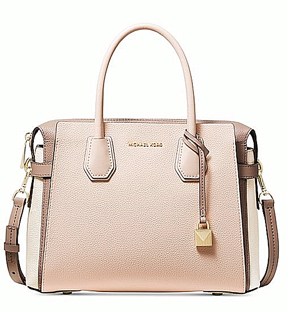 Michael Kors Mercer Belted Tricolor Pebble Leather Soft Pink Multi Crossbody Satchel Bag