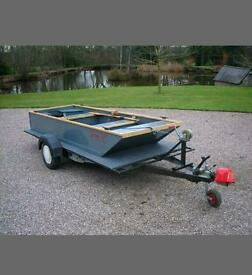 Wooden fishing punt boat classic bespoke handcrafted