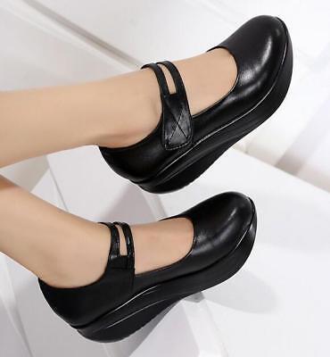 Mary Jane Womens Flat Platform Comfort Shoes Nurse Shoes Black New Wedge Heels  ()