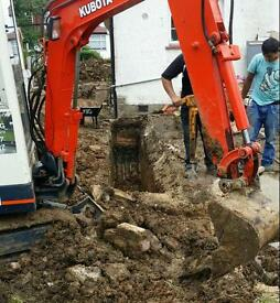 Digger hire with driver mini digger with operator all areas