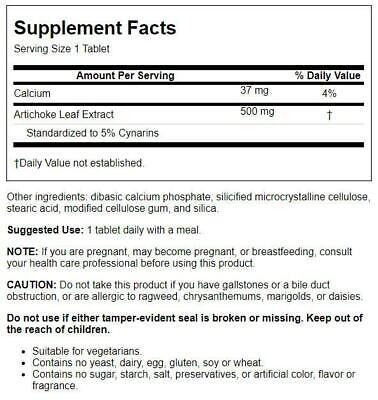 Source Naturals Artichoke Extract 500 500 mg 180 Tabs 1