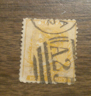 British Europe: Malta  Scott's # 5 - from 1865 - cancelled with hinge