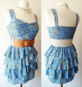 NEW Blue Multi-Color Ditsy Floral Print Peplum Ruffle Skirt CUTE Sun Dress +BELT