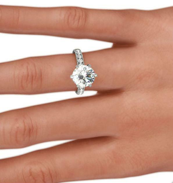 Diamond Round Ring Certified 14 Kt White Gold 6 Prong 3 Carat Size 4.5 - 9