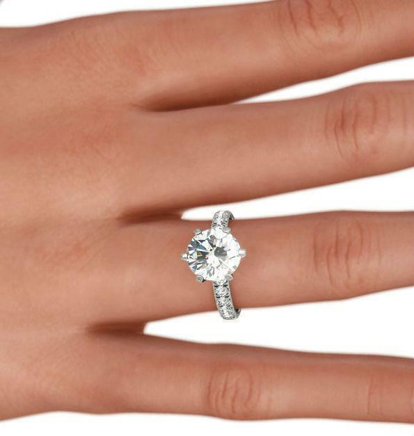 Diamond Round Ring Solitaire Accented 2 Carat Si1 14 Karat White Gold 6 Prong