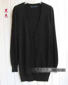 New Womens V-Neck Casual Loose Long Sleeve Knit Sweater Coat Jumper Cardigan Jss