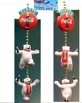 Coca Cola Polar Bears 3pc Fan Pull MINT z
