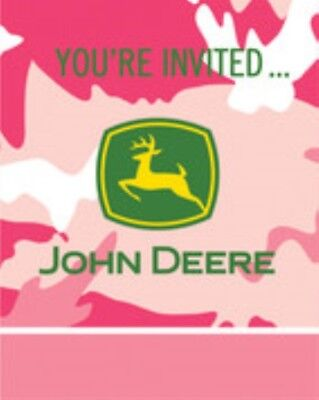 John Deere Pink Camo Invites Invitations 8ct  Decoration Favor Party - Camo Invitations