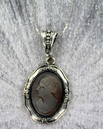Vintage Black  Shell Cameo Carved in Italy in Silver Plated Setting with Chain