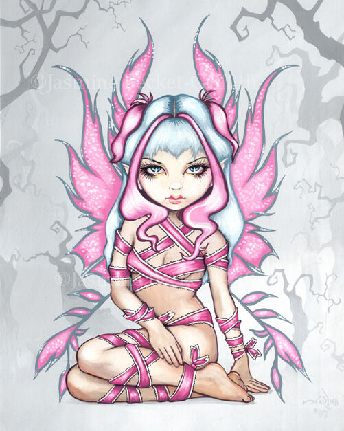 Jasmine Becket-Griffith art print SIGNED Pink Ribbon Fairy pinup breast cancer