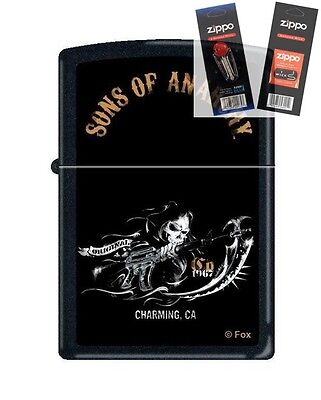 Zippo 2939 Sons Of Anarchy Reaper Lighter With  Flint   Wick Gift Set