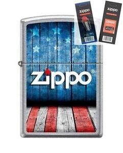 Zippo 8433 USA Flag Logo Lighter with *FLINT & WICK GIFT SET*