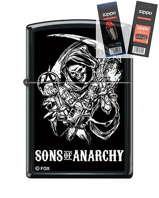 Zippo 5732 Sons Of Anarchy Reaper Lighter With  Flint   Wick Gift Set