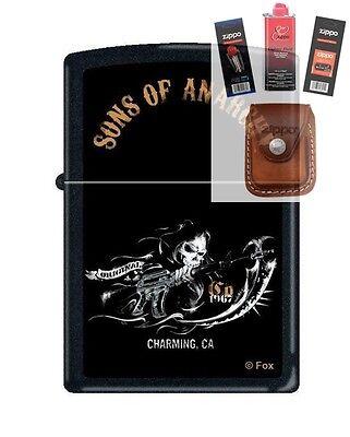 Zippo 2939 Sons Of Anarchy Reaper Lighter   Fuel Flint Wick Pouch Gift Set