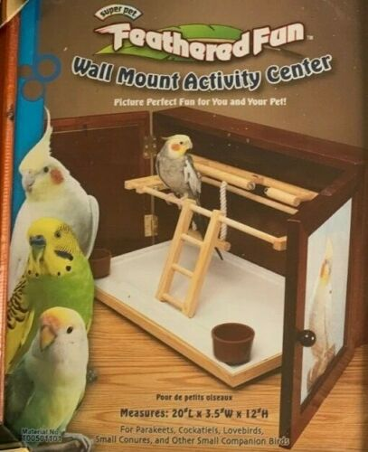 FEATHERED FUN * Wall Mount  BIRD  Activity Center * PARAKEETS  COCKATIELS  * NEW
