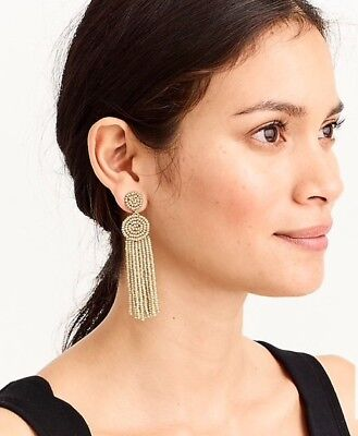 J.Crew Factory BEADED CIRCLE TASSEL EARRINGS! Sold Out!New$39.50 Gold