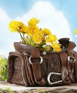 ... Rustic Western Theme Cowboy Saddle Planter Garden Outdoor Yard Decor