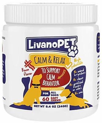 Organic Calming Treats for Dogs, Bacon Flavored Chewable Supplements - Helps to