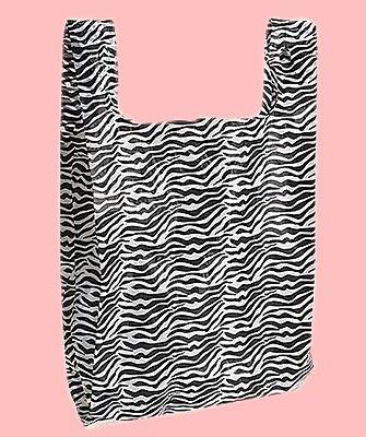 25 Qty 8 X 5 X 16 Zebra Stripes Small Plastic Merchandise Bags Whandles