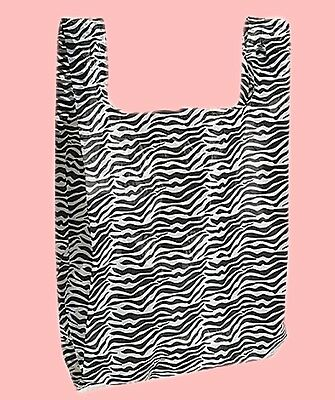 100 Qty 11-12 X 6 X 21 Zebra Stripes Plastic Merchandise Bags Whandles
