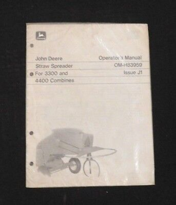 1970 1971 John Deere 3300 4400 Combine Straw Spreader Operators Manual Sealed