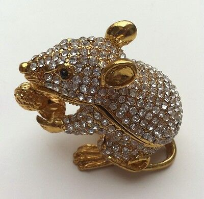 Bejeweled Trinket Box - BEJEWELED RAT MOUSE STATUE TRINKET JEWELRY BOX