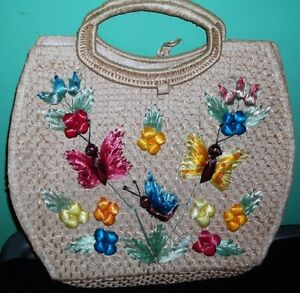 Beautiful vintage decorative straw bag...great summer bag!