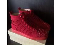Red Christian Louboutin Suede Studded High Top Spiked Men's Red Bottom Sneakers