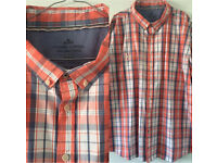 Men's EASY 100% Cotton Orange White Pale Blue Short Sleeve Shirt 3XL From Smoke & Pet Free home