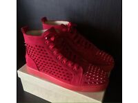 Christian Louboutin Red Suede High Top Spiked Designer Men's Red Bottom Trainers