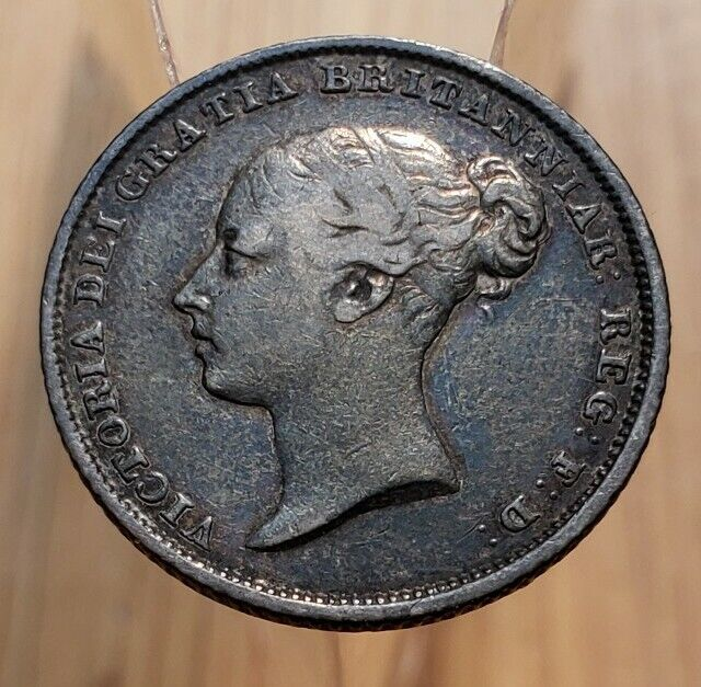 1839 Great Britain Queen Victoria 6 Pence World Silver Coin