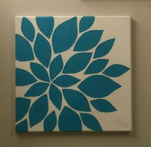 Abstract flower painting on canvas