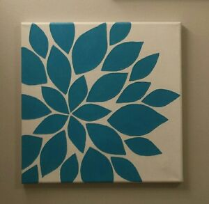 Abstract flower painting in canvas