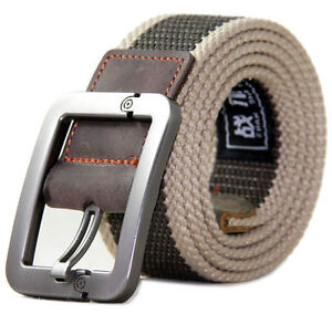 New-Unisex-Outdoors-Tactical-War-Man-Military-Canvas-Leather-Belt-Train-Belt-M-L