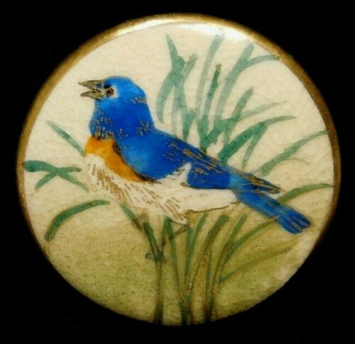 Antique Vtg Button SATSUMA Pottery BLUEBIRD