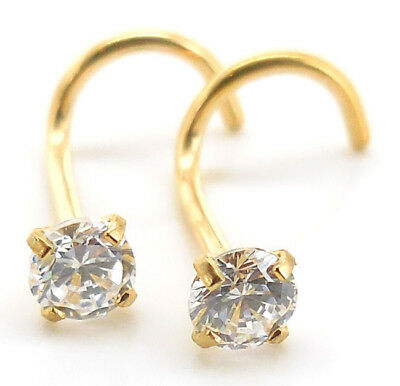 20 Cubic Zirconia Crystals - Pair Prong Set Gold Tone Stainless 18G 20G Nose Screw CZ AB Crystal Rings Body
