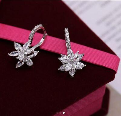 1.50Ct Marquise Cut Diamond Flower Drop & Dangle Earrings 14K White Gold Finish Diamond Flower Drop Earrings