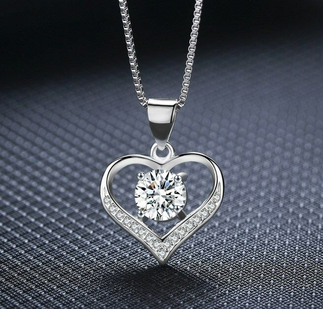 "Jewellery - 925 Sterling Silver Love Heart Cubic Zirconia CZ Pendant Necklace 18"" Box PE42"