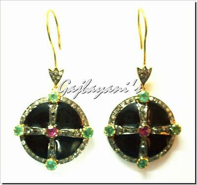 - CELTIC CROSS VINTAGE STYLE EMERALD, PINK TOURMALINE & ROSE CUT DIAMOND  EARRING
