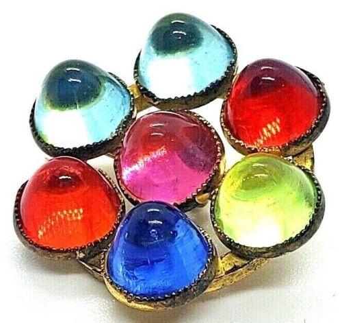Fun Vintage Jewel Button…Glowing Multi-Color  Gumdrops :)….1 inch