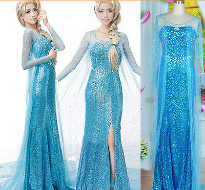 Hot New Fashion Women Adult Frozen Elsa Princess Queen Cosplay Party fancy (Elsa Frozen Adult Kostüme)