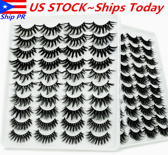8/10/20 Pairs 3D Natural Bushy Cross False Eyelashes Mink Ha