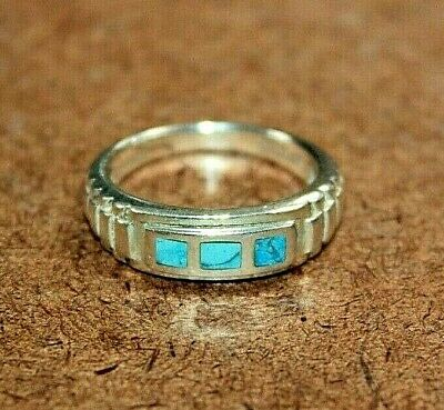 Designer Sterling Silver Inlaid Turquoise Band Ring Signed NF Size 6.75 [059WEI]